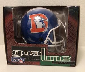 NEW VTG 90s Denver Broncos Die Cast Metal Mini Helmet Coin Bank 1995 RARE Retro