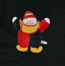 Peluche doudou clown SUCRE D'ORGE bleu rouge jaune grelot 24 cm TTBE