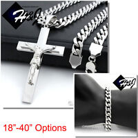 """18-40/""""MEN Stainless Steel 9mm Silver Cuban Curb Chain Necklace Cross Pendant*BJ1"""