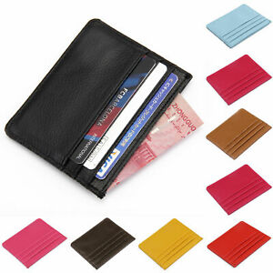 Small mens leather WALLET credit CARD holder with card protection takes cards