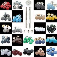 10Sets 15mm 4 Parte Pequeño Botones a Presión Plateado Espalda Cierres Con Mano