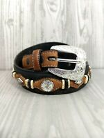 Justin Black Scalloped Leather Belt conchos Rawhide Cowgirl Western Sz 28