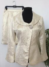 Midnight Velvet Women's Gold Cream Cotton Blend 2 Piece Skirt Suit Size 10 EUC!