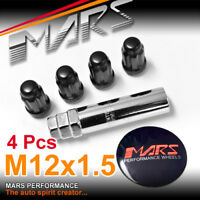 4x Black Mars Performance wheels M12 x 1.5 mm ultra slim 7 spline Lug Lock Nuts