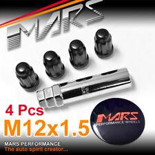 4x Black Mars Performance wheels M12 x 1.5 mm ultra slim 7 spline Lug Lock Nuts