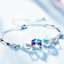 Thick 18K White Gold GF Made With SWAROVSKI Crystal Colorful Water Cube Bracelet