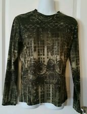 Chico's Design Gray Asian Oriental Print Blouse Top Size 0