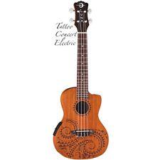 Luna UKE-TEC-MAH Tattoo Concert Mahogany Acoustic/Electric Ukulele w/ Preamp