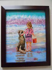 """11"""" x 14"""" OIL Painting, Best Friends, Girl & Dog, Ocean, Seashore, Framed"""