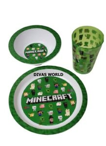 Minecraft Dinner Bowl Plate & Glass Cup Creeper Design Kids Gift Set Pack Of 3
