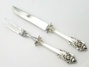 "Vtg Wallace Sterling Silver Meat Carving Set Knife Fork Roast Grand Baroque 11"""