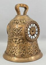 Large Antique 19thC French Cast Bronze Figural Latin Bell Shaped Mantle Clock