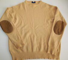 Men's SINQUE TERRE 100% Merino Brown Pullover Cardigan Patch Elbow Size M 50