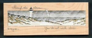 XL THROUGH THE STORM LIGHTHOUSE BEACH ROCK LANDSCAPE STAMPS HAPPEN RUBBER STAMP