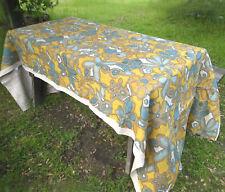 Vintage 1960s-70s Jute Burlap Floral Flowers Blue & Yellow ~ Tablecloth~ 3 yds
