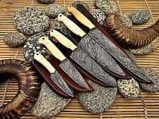 Custom Hand Made Damascus Steel Chef Knife Set WIth Camel Bone Handle.