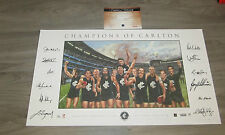 12 CHAMPIONS OF CARLTON BLUES SIGNED FINE ART PRINT NICHOLLS DOULL WILLIAMS JUDD