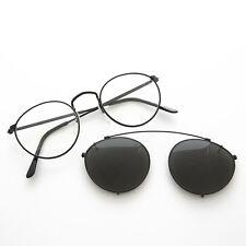 Round Eyeglass Frame w/ Clip-On Aviator Vintage Sunglass Black -TOLKIEN