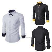 Mens Luxury Long Sleeve Shirt Casual Slim Fit Stylish Dress Shirts Tops 3 Color