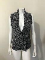 Kaisely Anthrolpologie Gray White Shawl Collar Sleeveless Sweater Vest Size S