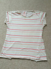 Ladies Cream Red and Yellow Striped Top Size 14