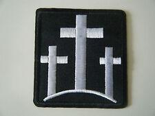 THREE CROSSES PATCH Iron On Christian Biker Motorcycle Crucifix Cross Badge NEW