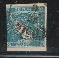 FRANCOBOLLI - 1851 LOMBARDO VENETO C.3 AZZURRO III° TIPO E/6568