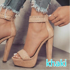 Womens Ankle Strap Platform High Heel Sandals Casual Knit Weave Peep Toe Shoes