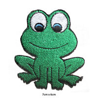 Green Frog Disney Embroidered Patch Iron on Sew On Badge For Clothes Bags etc