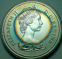 1975 CANADA 1 ONE SILVER DOLLAR PROOF BLUE COLOR GEM TARGET TONED UNC BU (DR)