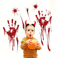 Horror Decal Removable Halloween Wall Stickers Blood Handprint Decoration