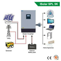 Solar Inverter 5KW 4000W Off-grid Pure Sine Wave 220VAC Output Built-in PWM 48V