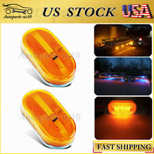 2x Amber Trailer Marker LED Light w/ Reflex Lens Truck RV Lorry Clearance Lights