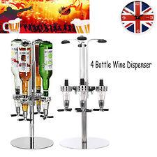 Rotary 4Bottle Stand Drinks Beer Dispenser Spirits Wine Steel Bar Butler Rack 5A