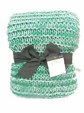Threshold Throw Sofa  Blanket Green White Knitted 50 x 60 New