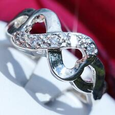 925 sterling silver 0.15ct white sapphire size 8.25 infinity heart ring 3.9gr