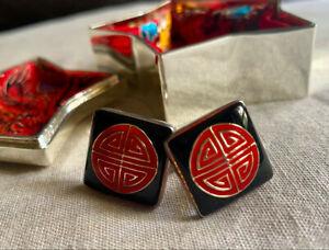 WOW! SHANGHAI TANG Shou (Longevity) Square Enamel Cufflinks - Luxury BOXED