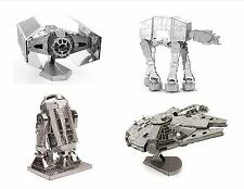 Metal Earth 3D Model Kits Set of 4 Star Wars Gift TIE Fighter R2-D2 AT-AT Falcon