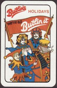Playing Cards 1 Single Card Old BUTLINS Holidays Advertising Art Design BANNER