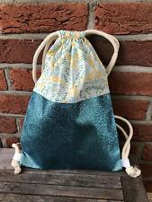Handmade Backpack, Glitter & Fabric, Gym Bag, Bag, Glitzer-Rucksack Turquoise