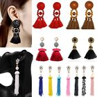 Bohemia Crystal Dangle Stud Earrings Women Long Tassel Beads Fringe Jewellery