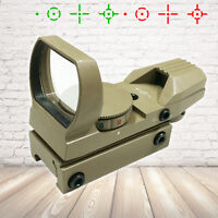 Tactical TAN Multi 4 Reticle Red & Green Reflex Dot Sight Scope 20mm Rail Mount
