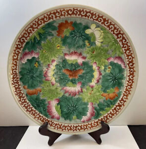 """Antique Chinese Famille Rose Enameled Porcelain Plate Butterflies 12"""""""