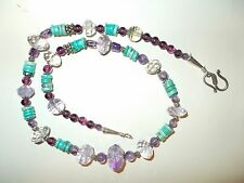 """Necklace With Faceted Amethyst Rock Crystals & Turquoise Heishe Beads 22"""""""