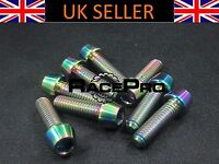 RacePro - 2x Titanium Tapered Bolt GR5 - M5 x 15mm x .8mm - Rainbow Allen Head