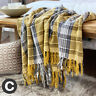 Luxury 100% Cotton Tartan Check Ochre Yellow Mustard Grey Bed Sofa Blanket Throw