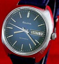 Bulova vintage 1976 Swiss automatic ss watch w/ new matched leather/canvas strap