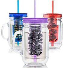 Babz 3 x Fruit Infusion Infused Water Mason Jam Jars Drinking Jar with Handle -