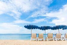 Beach Photo Shoot Backdrop Umbrellas  Seaside Photography Background Vinyl 7x5ft