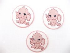 12 Pre Cut Edible Rice Wafer Paper Card Baby Elephant Baby Shower Cake Toppers